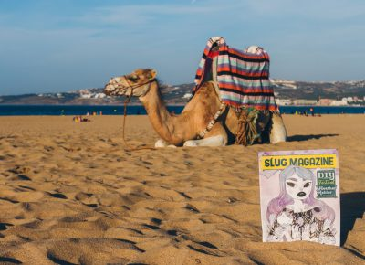 SLUG Mag catching some rays out on the beach of Tangier next to a Moroccan camel. Photo: Talyn Sherer