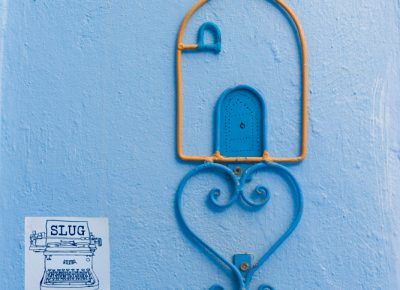In Chefchaouen, Morocco the blue city is greeted with a SLUG stamp of approval. Photo: Talyn Sherer