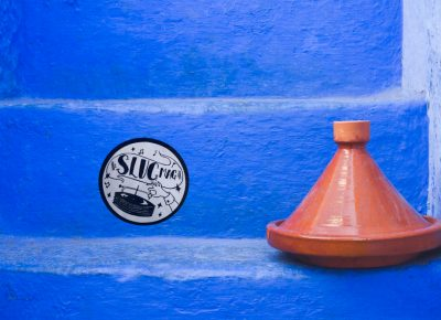 A SLUG sticker finds a new home next to a Moroccan tagine in the city of Chefchaouen, Morocco. Photo: Talyn Sherer