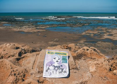 SLUG Magazine overlooks the Atlantic Ocean on a hot and humid Moroccan day. Photo: Talyn Sherer