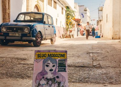 Inside Rabat's medina, a SLUG Magazine is photographed in the alleyway of the ancient city. Photo: Talyn Sherer