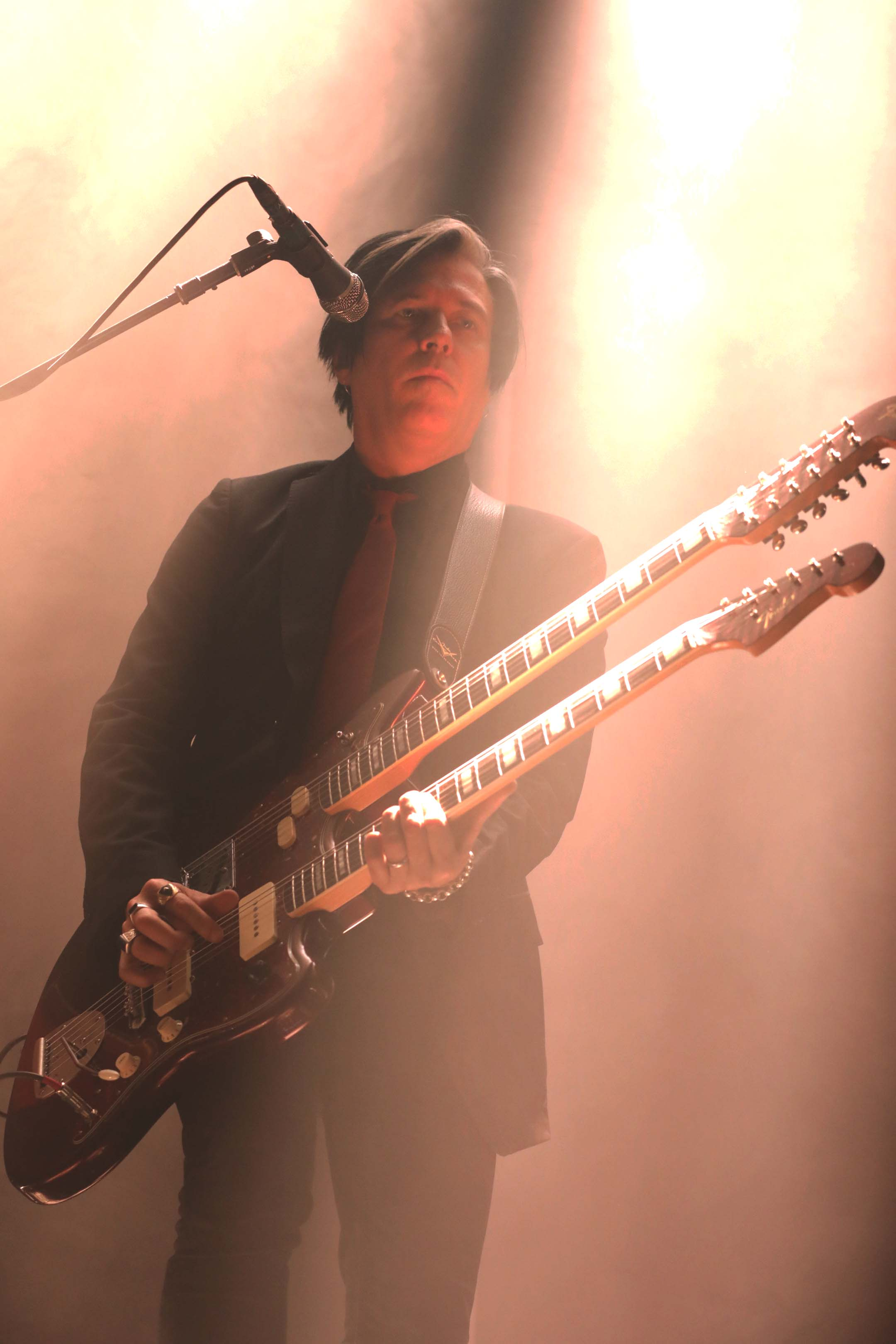 Double neck guitar being played by Troy Van Leeuwen. Photo: Lmsorenson.net