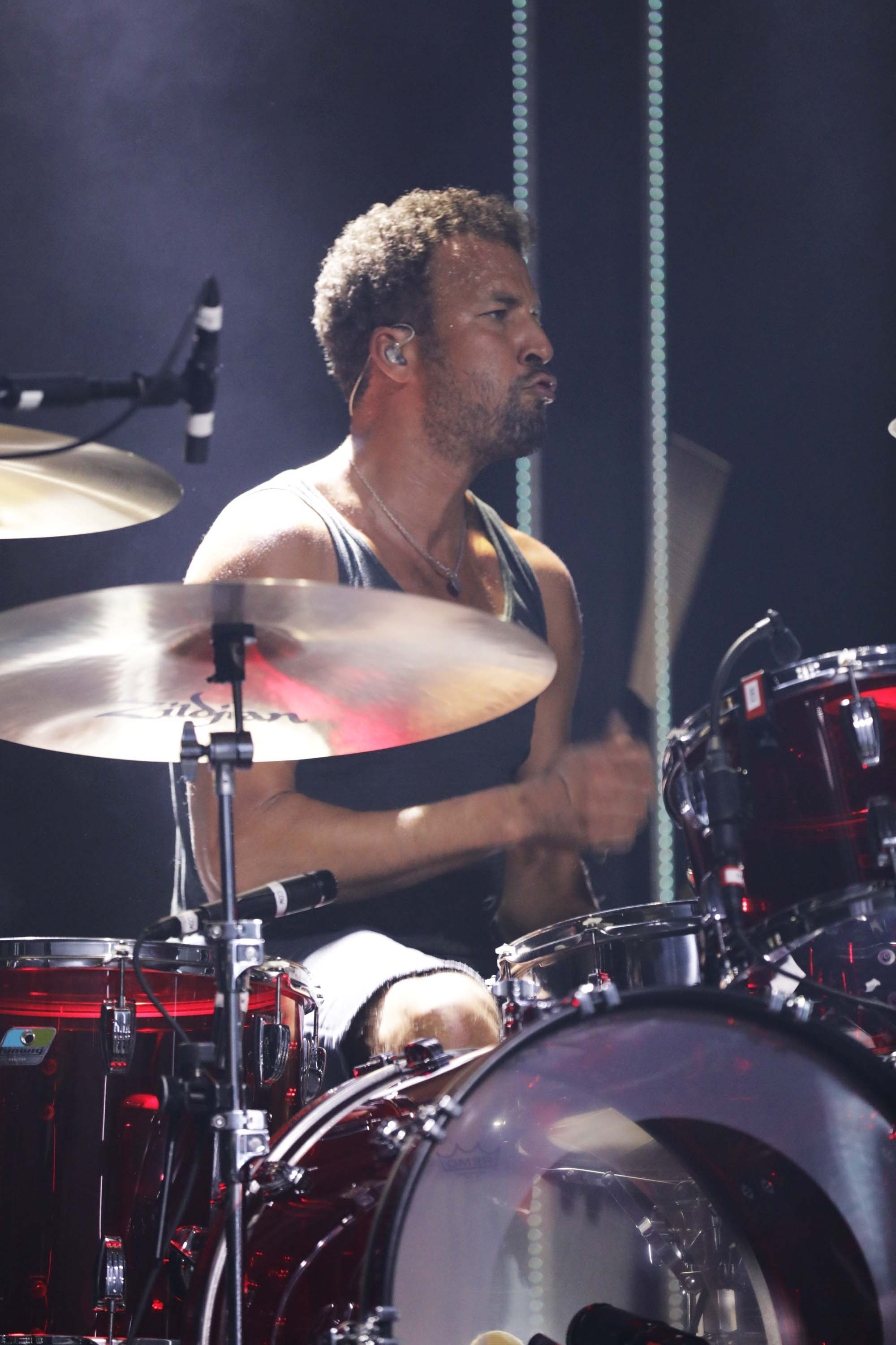 Drummer Jon Theodore onstage for Queens of the Stone Age. Photo: Lmsorenson.net