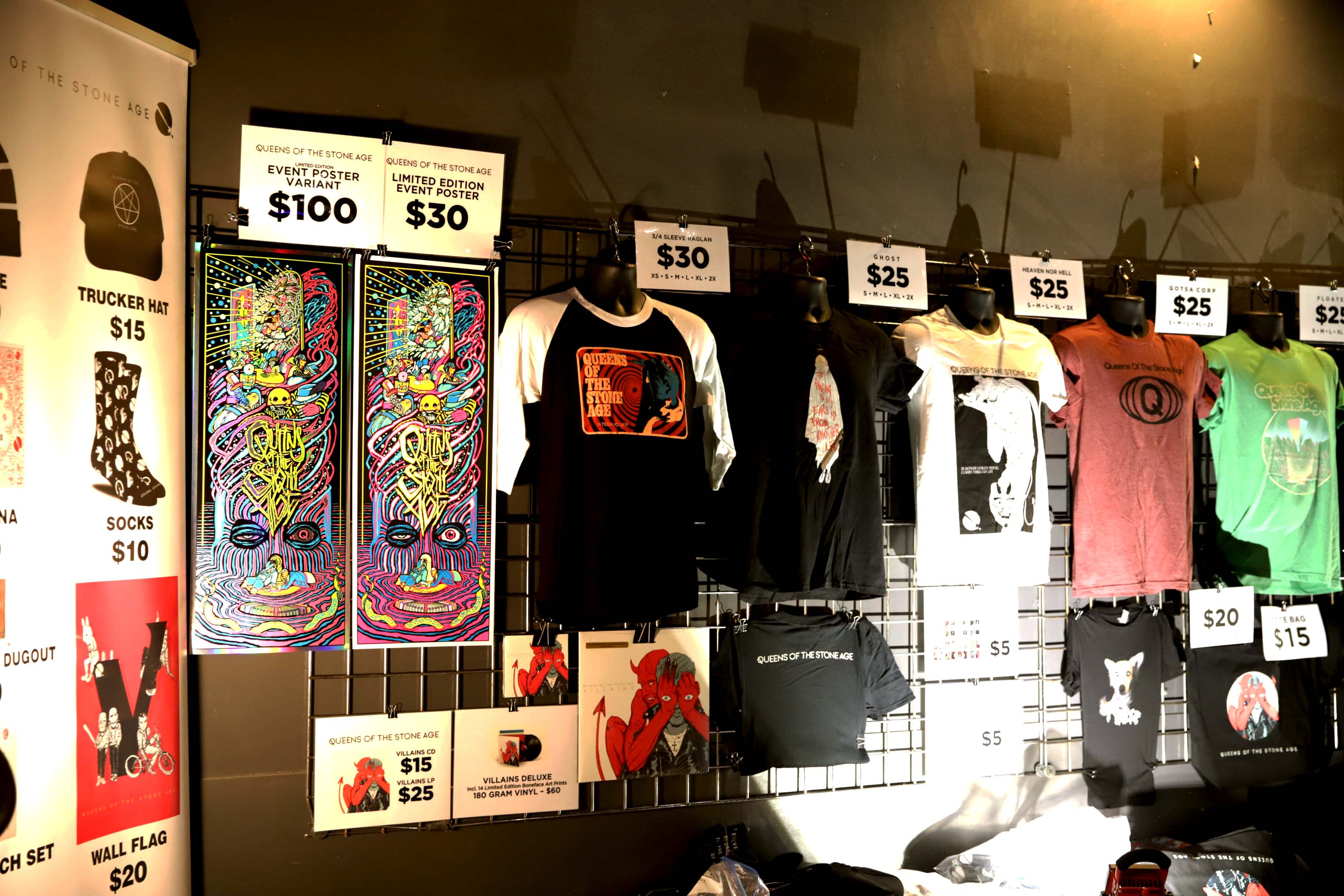 Merchandise, CDs, T-shirts and some pretty sweet and psychedelic-looking posters for sale before the show. Photo: Lmsorenson.net