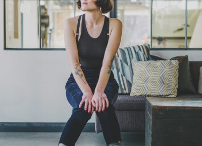 """""""My closet is definitely all not normal clothes, and I think even with my lounging clothes, I try to make them just as unique and like myself as possible,"""" says Dransfield. """"I will have days where I just wear black head to toe and a tank top with jeans—but it's still high waisted jeans and always some old lingerie top that I turn into a shirt or something like that."""" Photo: @clancycoop"""