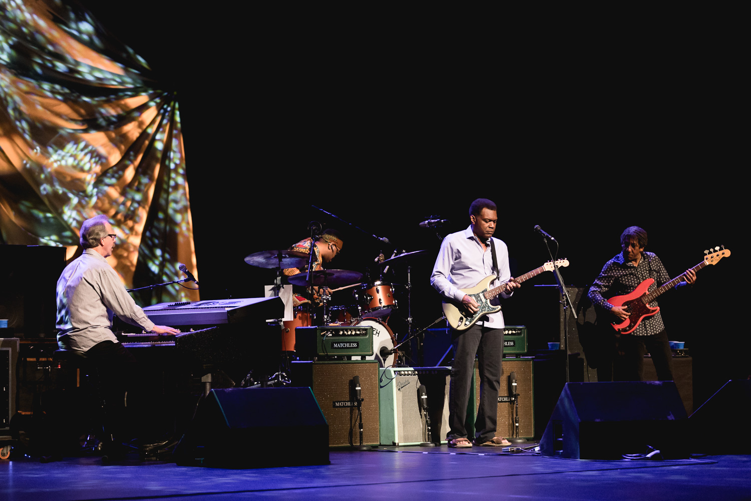 Robert Cray and his band playing onstage at the Eccles Performing Arts Center. Photo: @Lmsorenson.net