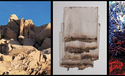 (L–R) Jane Christensen, Redrocks (2018); Kelly Larsen, Soil Soak (2018); Janell James, Me and My Friends (2018).