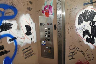 Graffiti, artwork and doodles cover the interior of an elevator in the Mosse Humanities Building. The elevator travels between the ground floor level and the upper floors of the building, where many aspiring artists and the department of art studios and are found. ©UW-Madison University Communications 608/262-0067 Photo courtesy: Jeff Miller