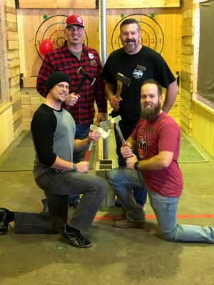 Ben with the three founders of Social Axe Throwing, Steve Lister, Mark Floyd and Brayden Floyd.