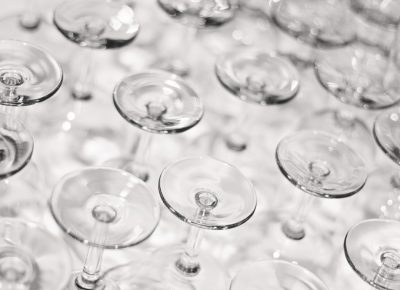 Thanks to Vine Lore, our wine glasses await our selection as we enter the awards ceremony. Photo: Talyn Sherer