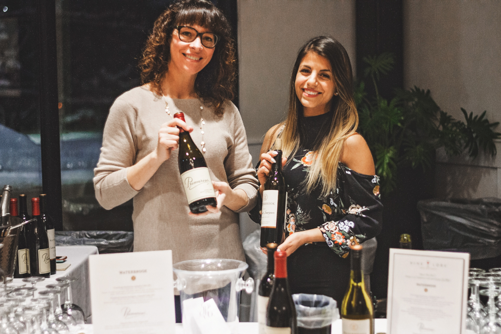 (L–R) Tamerin Smith and Alaina Athens give us a rundown of the intricacies of the wine selections from Vine Lore. Photo: Talyn Sherer