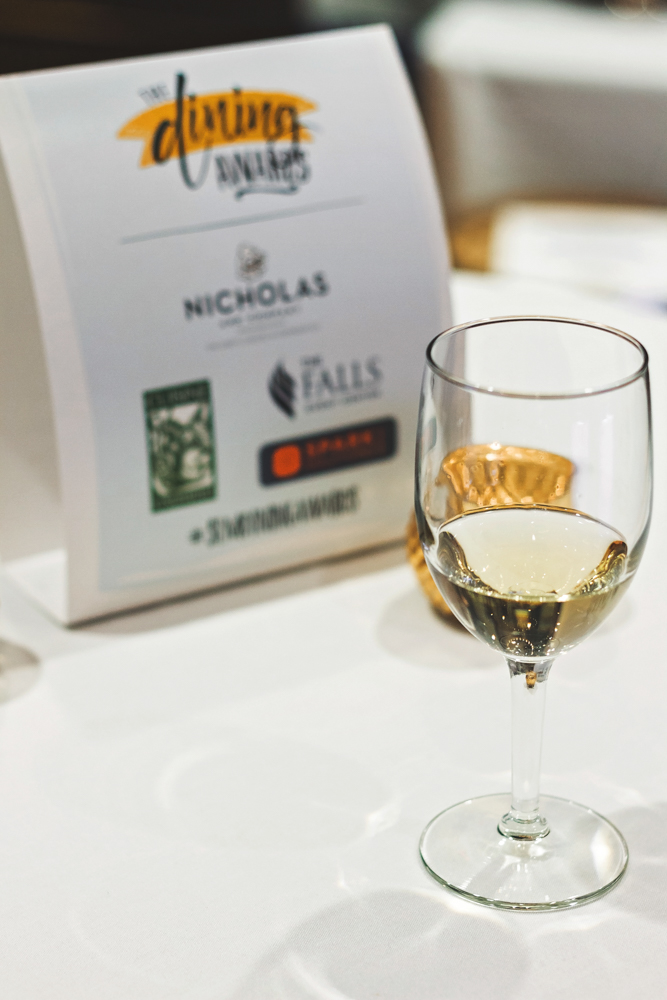 A glass of chardonnay starts off our night as we prepare to eat, drink and clap our hands off for Salt Lake's best restauranteurs. Photo: Talyn Sherer