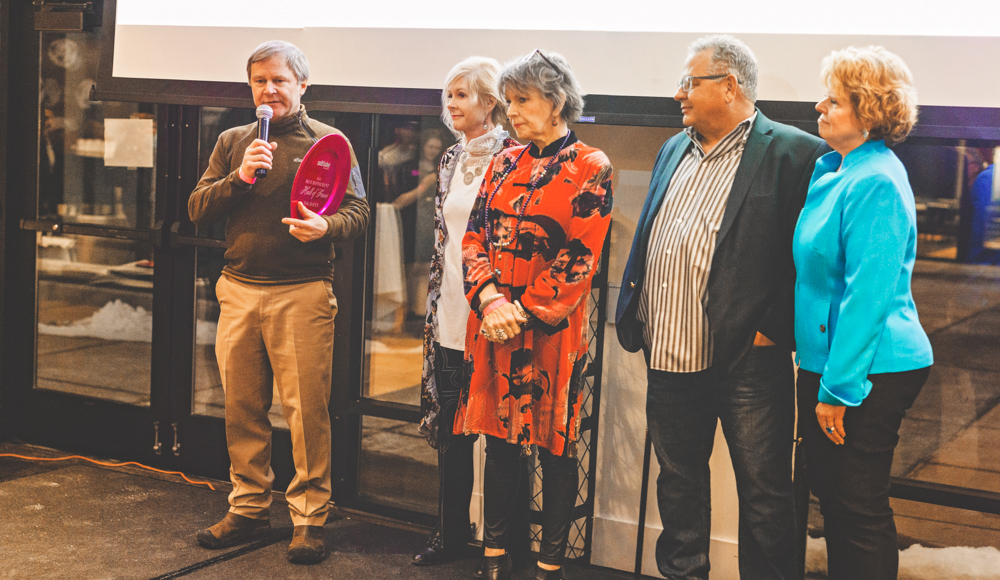The staff at Log Haven accept their well-deserved Hall of Fame award while talking about the years of service they have provided at their home in Millcreek Canyon. Photo: Talyn Sherer