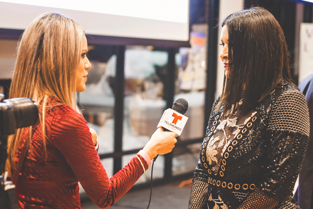Trina Baghoomian, director of events of SL magazine, is interviewed by Telemundo Utah. Photo: Talyn Sherer