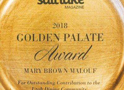 The best and perhaps most well-deserved award of the night went to Mary Brown Malouf with her Golden Palate award. Photo: Talyn Sherer