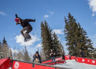 Men's Open Snow, Andy Richardson, huge gap to frontside boardslide. Photo: @cezaryna