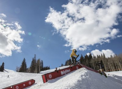 Men's Open Ski, Kevin Bane, gap to tail slide. Photo: @cezaryna