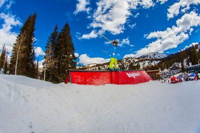 Greyson Hawkins, ski slide across and down. Photo: CJ Anderson