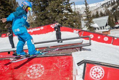 Men's 17 & Under Ski 3rd place winner Alex Mallen, slide to gap. Photo: @cezaryna