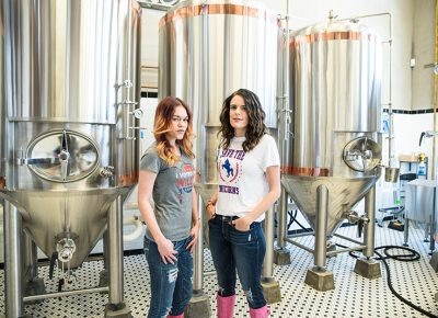 (L–R) Strap Tank's Aubrey Palfreyman and Julia Shuler lead the Utah chapter of Pink Boots Society, a community for women working in the Utah beer industry. Photo: Gilbert Cisneros.