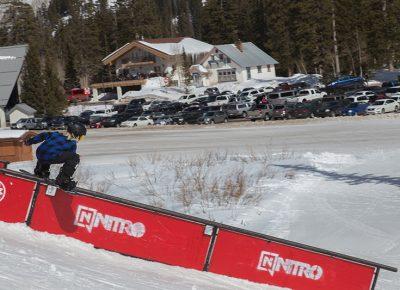 Men's 17 & Under Snow 1st place winner Henry Hawkins, boardslide. Photo: @cezaryna