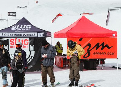 Skiers pinning bibs and prepping for the first heat. Photo: Matthew Hunter