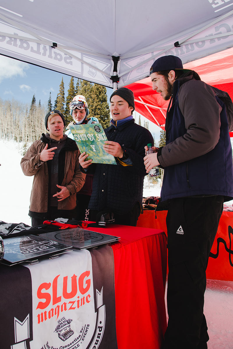 SLUG booth drawing a crowd with some creative swag. Photo: Matthew Hunter