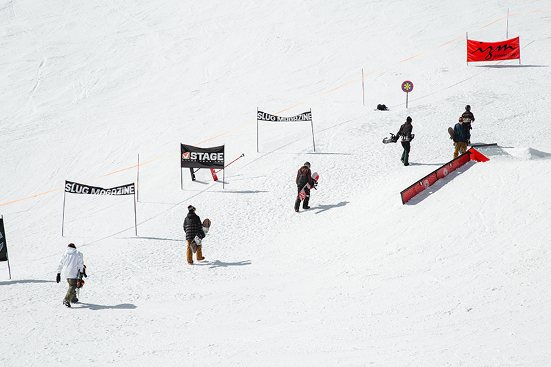 Riders making the hike to the top of the course. Photo: Matthew Hunter