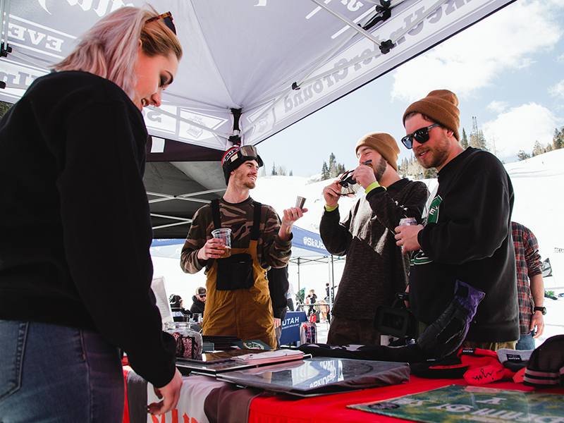 Riders and attendees checking out some SLUG swag. Photo: Matthew Hunter