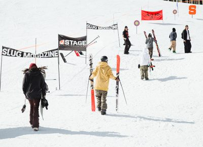 Skiiers and riders hiking up for finals. Photo: Matthew Hunter