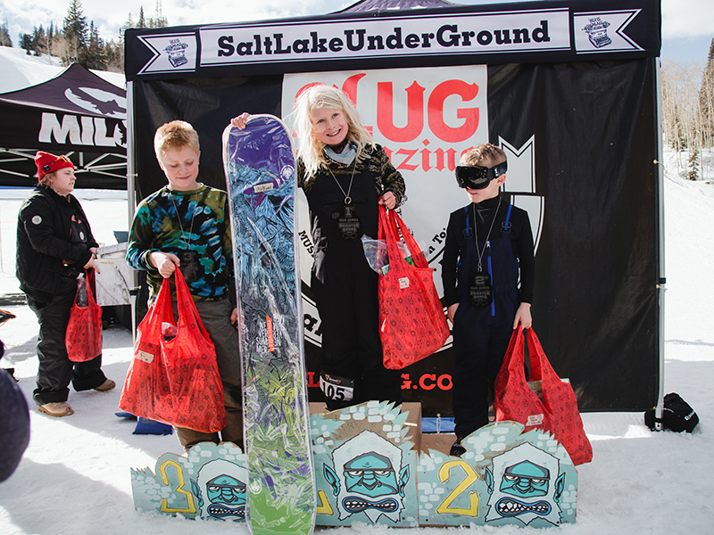 (L–R) Grayson Hawkins, Henry Hawkins and Ashton Davis taking home medals in the Men's 17 & Under Snow division. Photo: Matthew Hunter