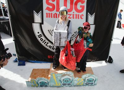 (L–R) Gwynnie Park and Lou Park claiming medals in the Women's 17 & Under Snow division. Photo: Matthew Hunter