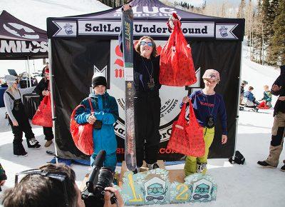 (L–R) Alex Mallen, Carter Wessman and Luke Mallen in the Men's 17 & Under Ski division. Photo: Matthew Hunter