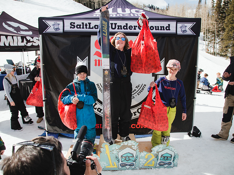 (L–R) Alex Mallen, Carter Wessman and Luke Mallen in the Men's 17 & Under Ski division. Photo: Matthew Hunter
