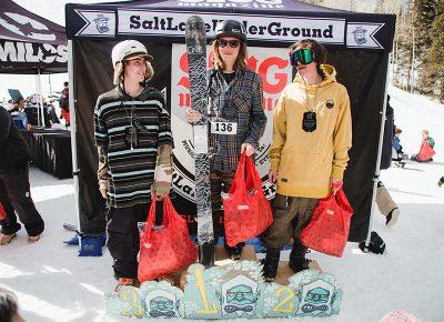 (L–R) Bayard Baker, Tucker FitzSimons and Kevin Bane medaling in the Men's Open Ski division. Photo: Matthew Hunter