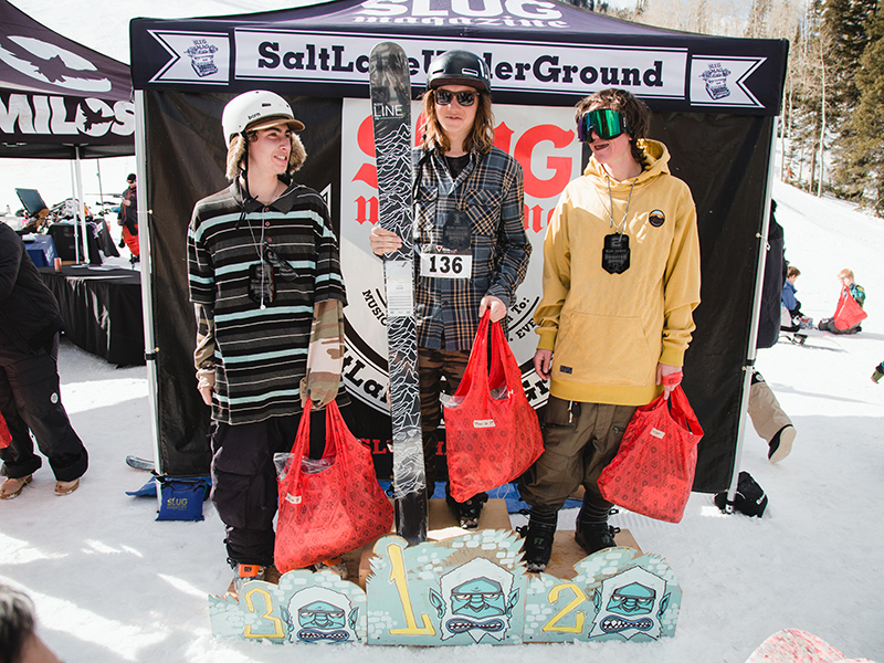 (L–R) Bayard Baker, Tucker FitzSimons and Kevin Bane medaling in the Men's Open Ski division. Photo: Matthew Hunter