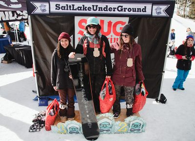 (L–R) Chloe Desdames, Sam Hobush and Jess Kelly representing and taking home medals in the Women's Open Snow division. Photo: Matthew Hunter