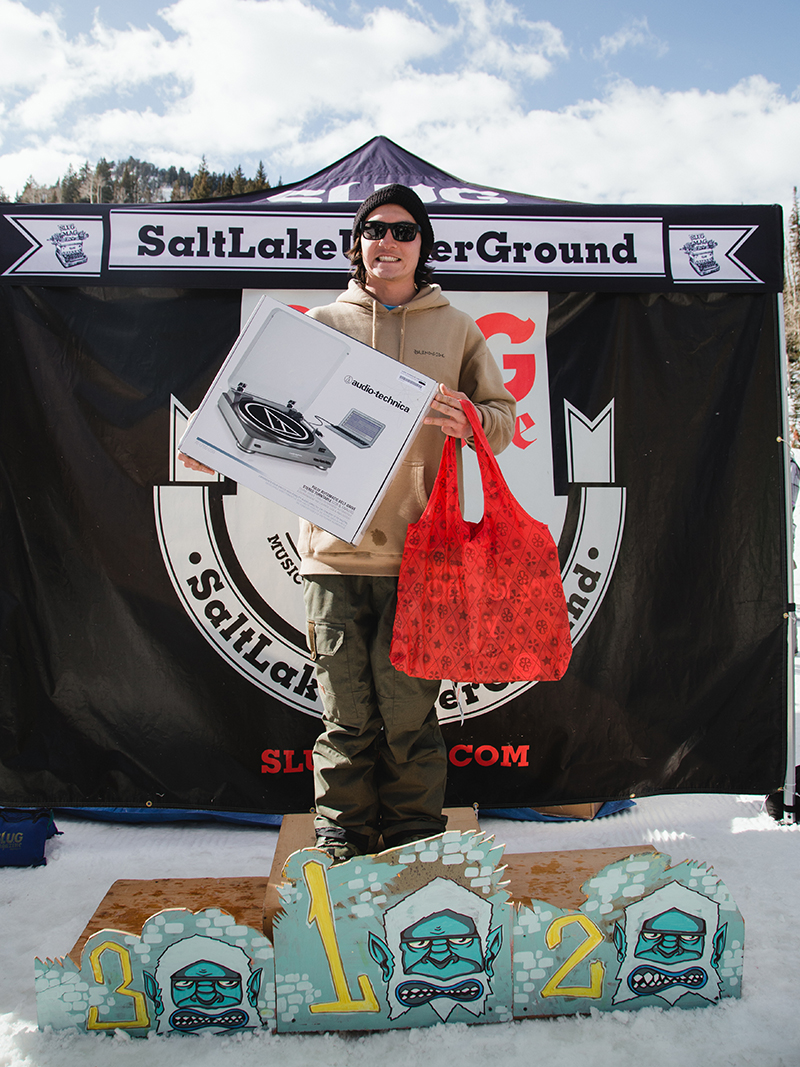 Paxton Alexander taking home Best Trick – Snow for his 180 switch backside 540 up box to down box. Photo: Matthew Hunter