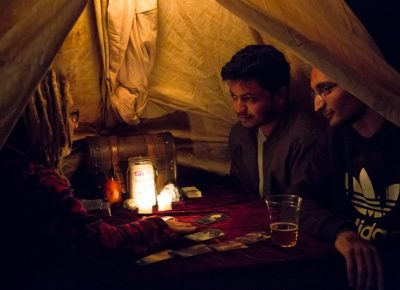 Patrons Vinay and Maneesh enjoying their tarot reading. Photo: Jessica Bundy