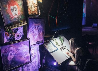 Mataya Maxfield's work complimenting the space theme of the evening. Photo: Will Cannon