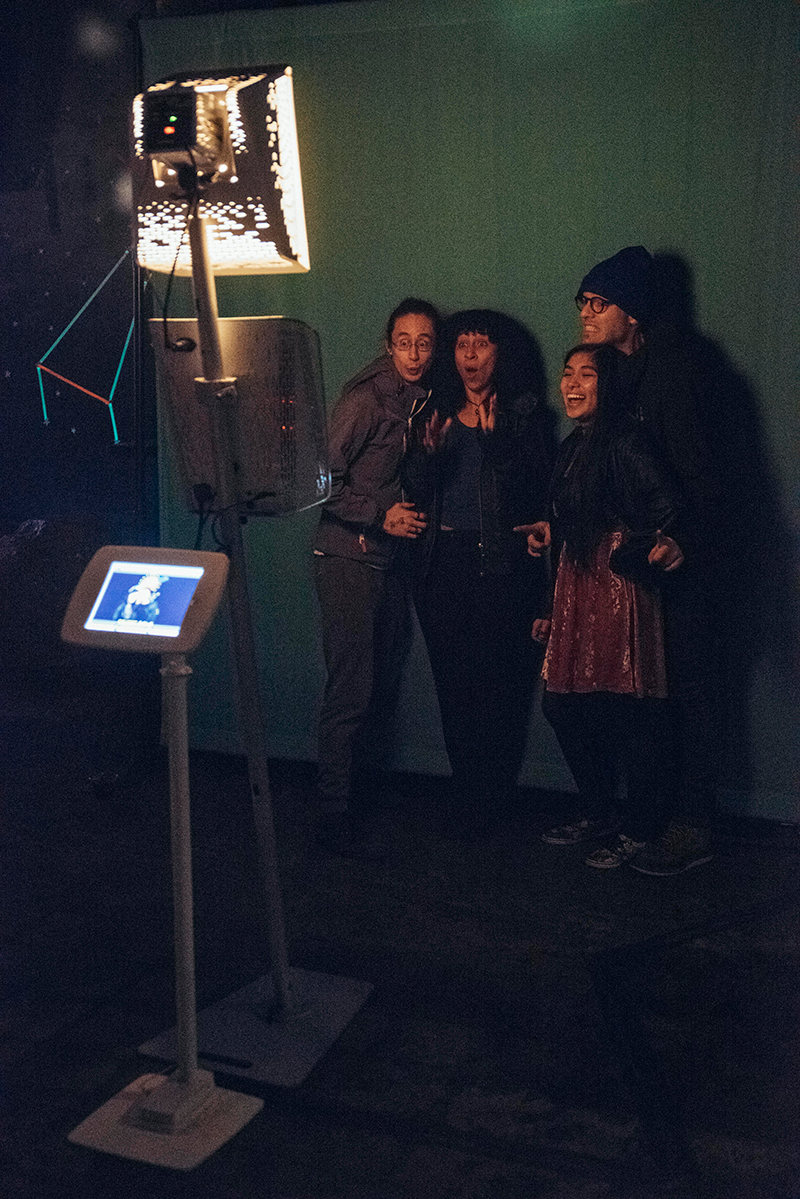 Natsuki, Tatiana, Leon, and Rachel making good use of the Smilebooth in Urban Lounge. Photo: Will Cannon