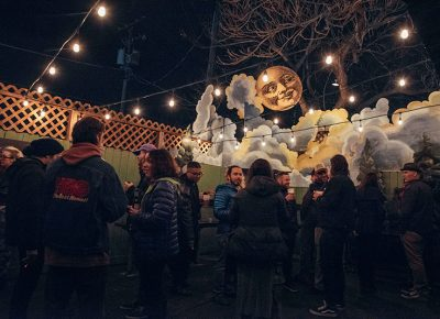 People enjoying the appropriately decorated outdoor area as the party continued well into the night. Photo: Will Cannon
