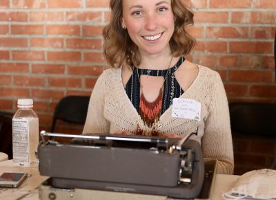 Elaina Court from thepoempros.com typed short messages on string-tie tags intended for postal delivery. She was surprised by how many of her bicycle friends stopped for bike-related haikus.