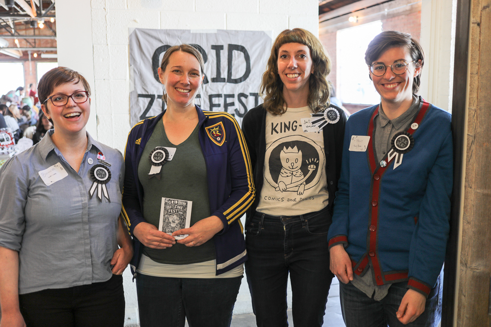 (L-R) Bonnie Cooper, Sarah Morton Taggart, Juli Huddleston and Molly Barnewitz organized the second annual Grid Zine Fest 2018 which took place at Publik Coffee on 975 S. West Temple on April 14.