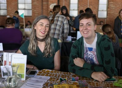 (L-R) Brinley Froelich and Eliza McKinney collaborated on their decarcerate zine. It calls attention to law enforcement abuses and the lasting impact of prison sentences/culture. McKinney has been interested in zines for five years, and she discovered independent publishing through teenage girl comics on Tumblr.