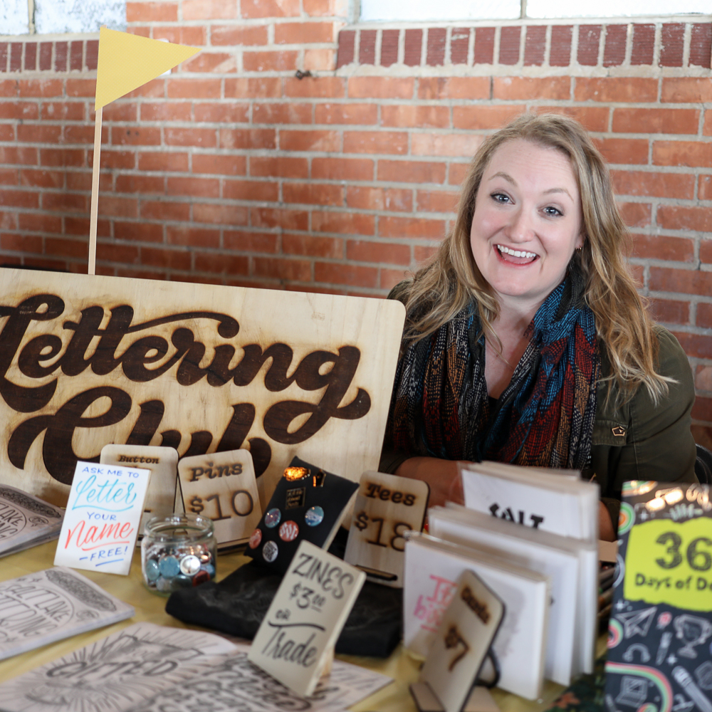 Danelle Cheney from Salt Lake Lettering Club hosts Meetups and produces zines of local artists' lettering work. Follow @saltlakeletteringclub to learn about upcoming events.