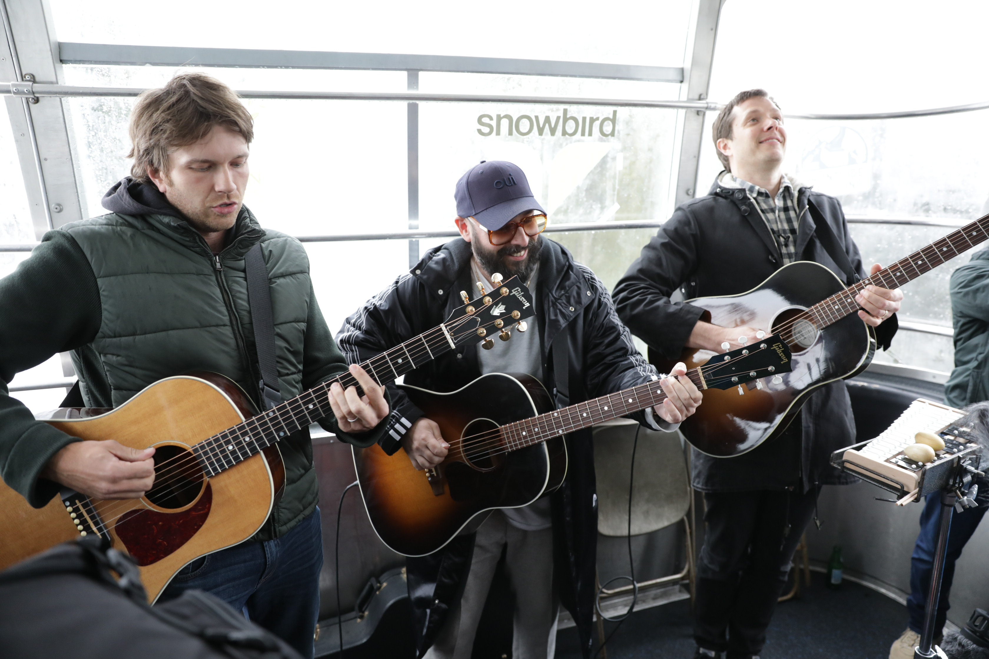 OK Go playing on the Snowbird Tram for Frontside Sessions from CLIF Green Notes. Photo: Lmsorenson.net