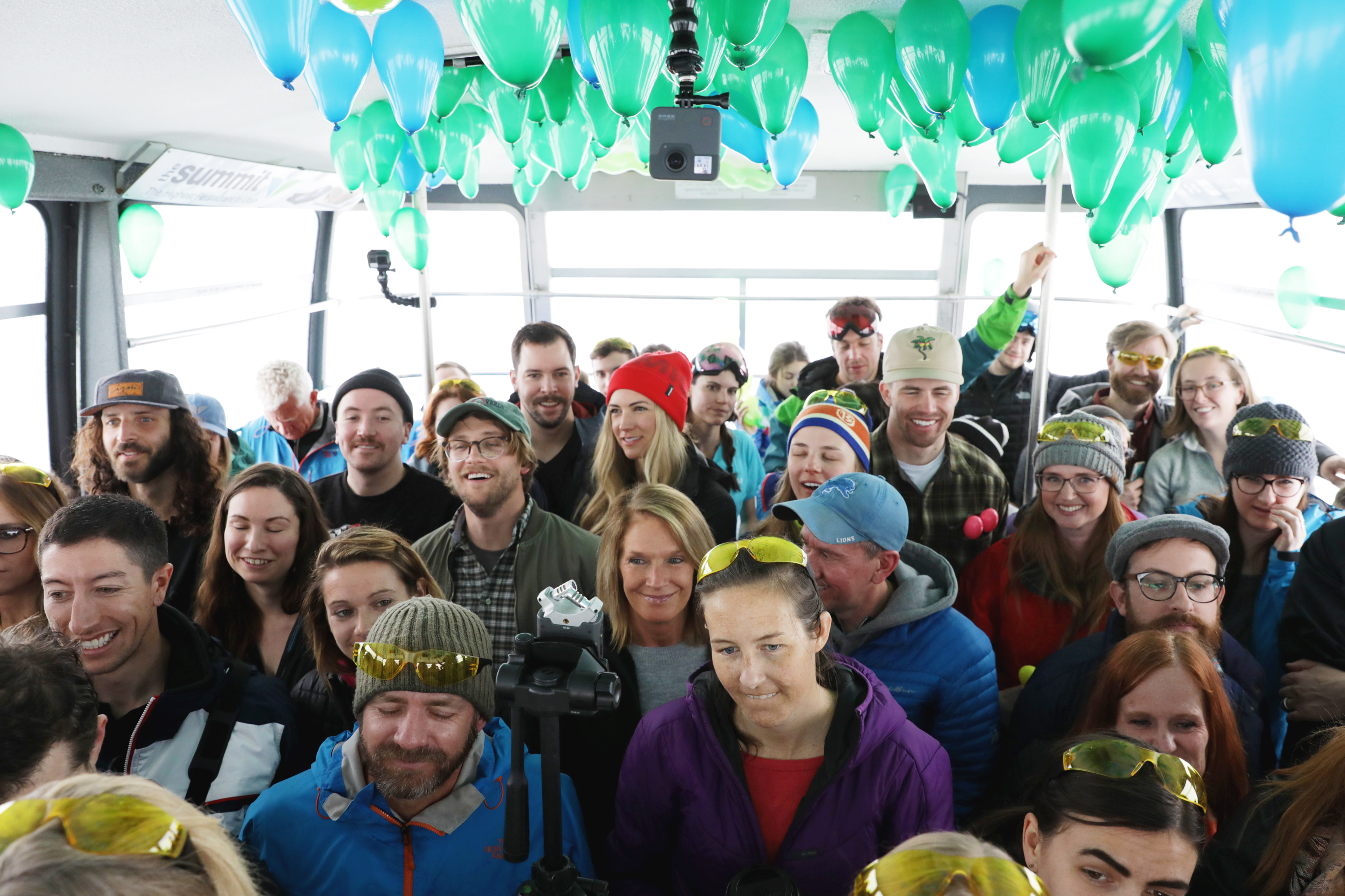 Happy faces and close quarters in the Snowbird tram during this Frontside Sessions event. Photo: Lmsorenson.net