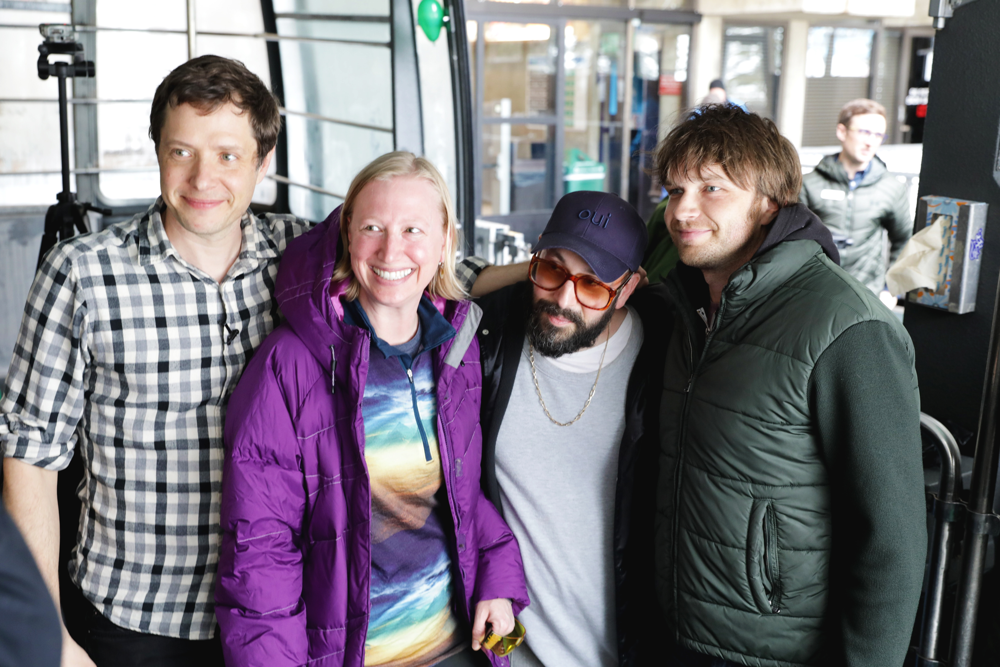 OK Go members pose with a fan for a photo. Photo: Lmsorenson.net