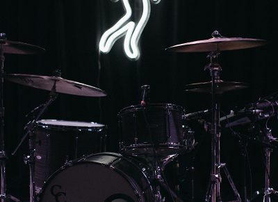 Neon artwork behind Lagomasino's kit.